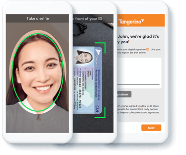 iPhone with Tangerine Mobile Banking app selfie screen