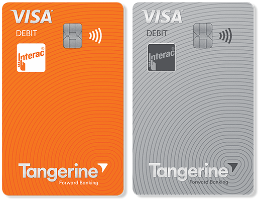 Two colour options for the Client card with Visa Debit, an orange card or a grey card.