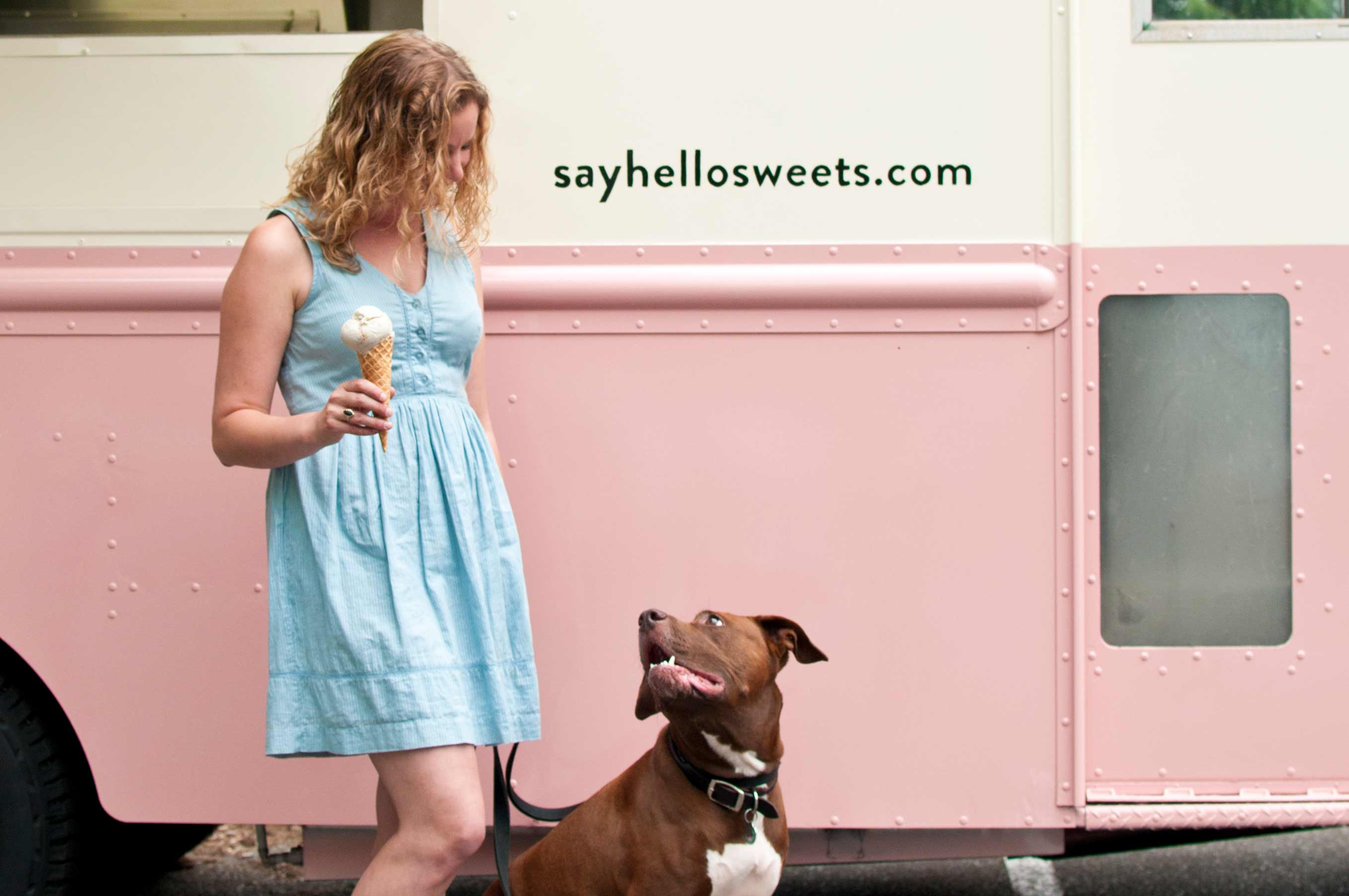 How Desperation Fuelled Inspiration for this Entrepreneur - Say Hello Sweets Owner with Dog